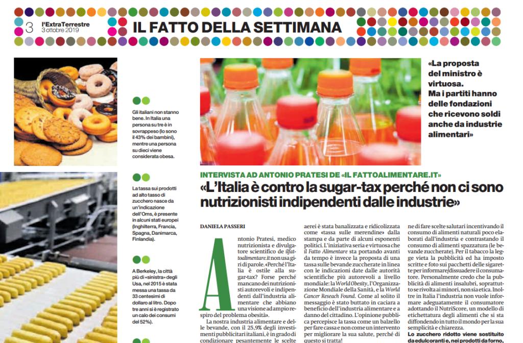 Intervista ad Antonio Pratesi su Sugar Tax, Il Messaggero